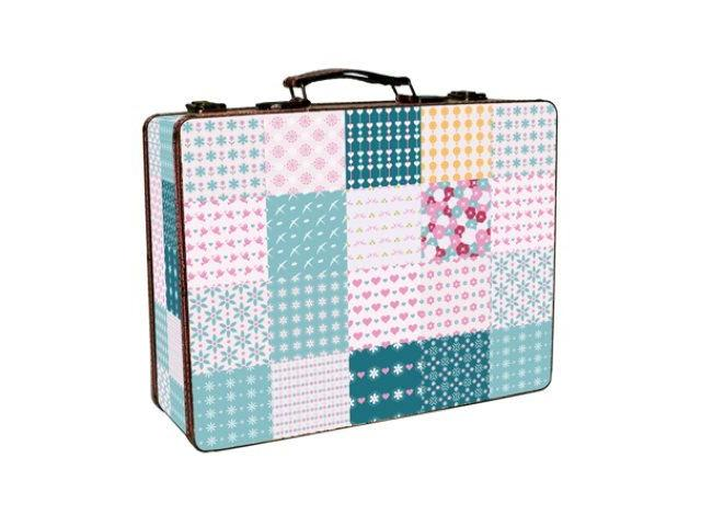 Set of 2 Briefcases - Flowers Patchwork