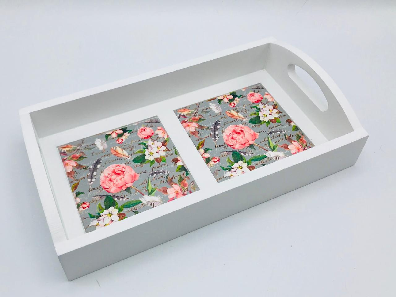 Mini Tray - Flowers & Feathers