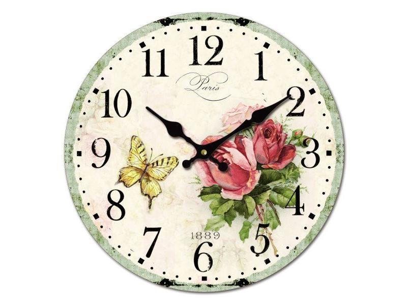 Wall Clock - Roses & Butterfly