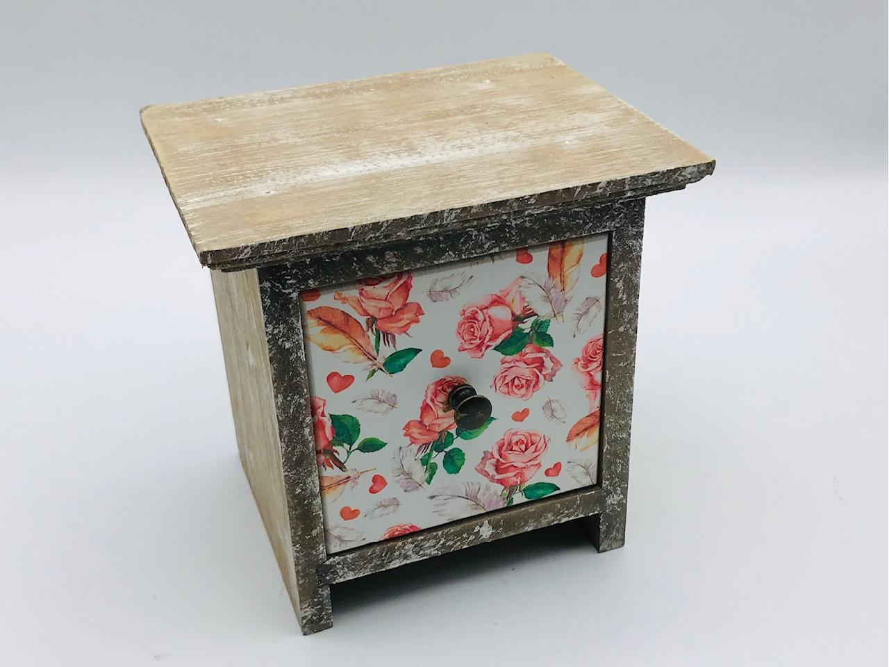 Vintage Single Drawer - Roses & Feathers