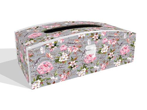 Sparkle Tissue Box Holder - Flowers & Feathers